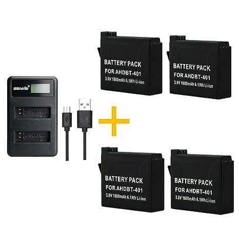 AHDBT-401 AHDBT401 - Juego de 4 baterías de 1600 mAh con ...