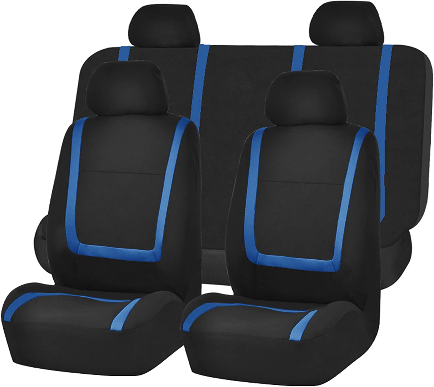 New Blue /& Black Polyester Soft Car Seat Covers w//Headrest Covers For Kia Qty 8