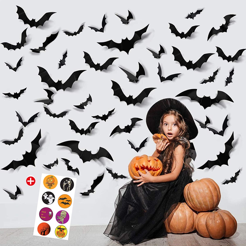 96PCS Halloween Party Supplies PVC 3D Decoration Realistic Horror Bat Wall Decal Wall Sticker,DIY Halloween Decoration Home Interior Window Decoration Set
