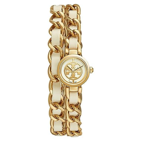 338cb5295 Tory Burch TRB4104 Mini Reva Double Wrap Chain Watch Ivory/Gold Tone 20 mm: Tory  Burch: Amazon.ca: Watches