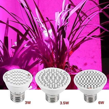 Bombilla de Cultivo LED, 85-265V Lámpara de Cultivo de Planta con UV e IR E27 ...
