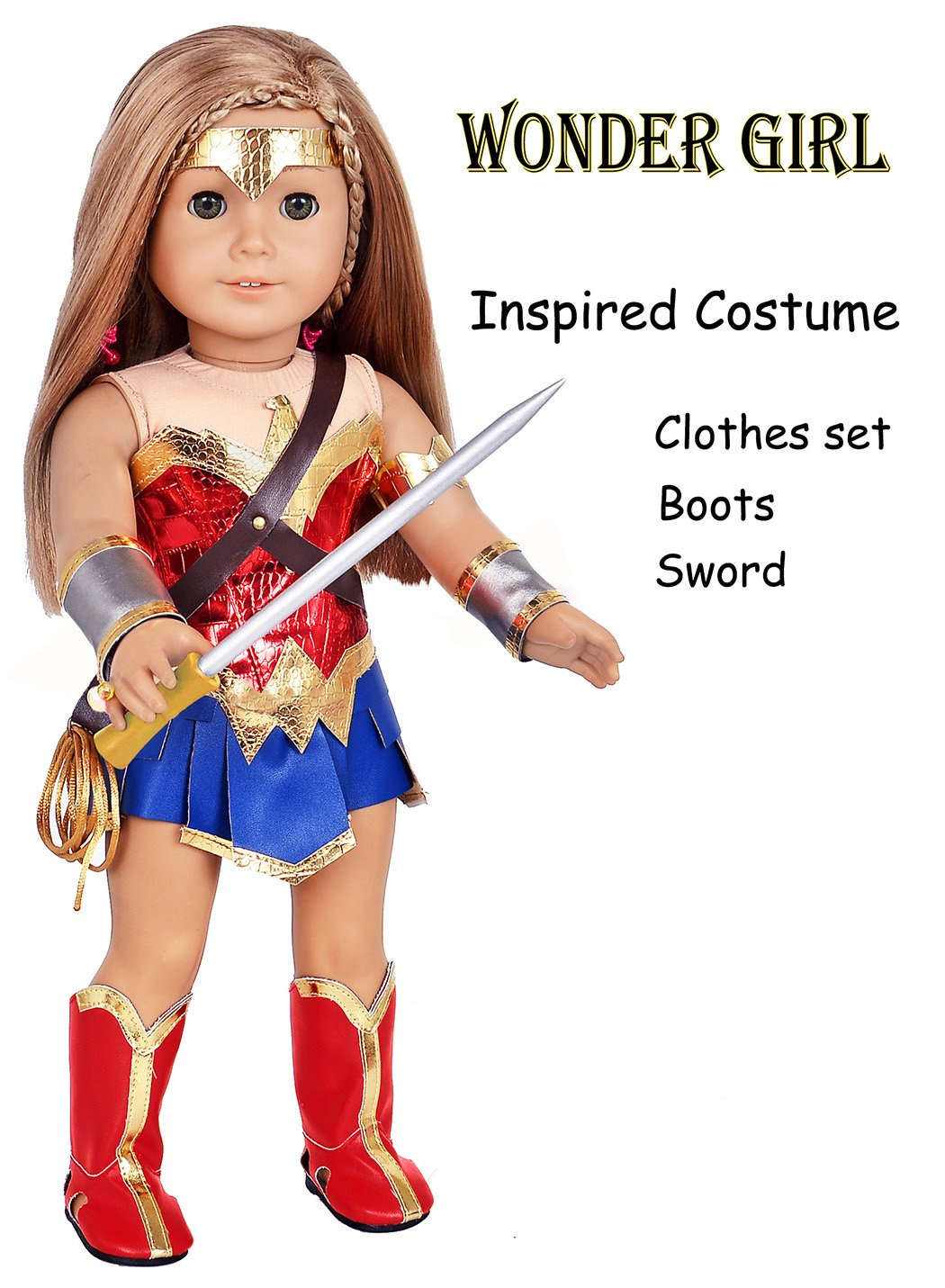 Ebuddy Wonder Girl Princess Diana Inspired Costume Leather 9pc/Set Doll Clothes Shoes Sword Fits 18 inch Dolls Includes American Girl,Journey Girl, Our generation etc