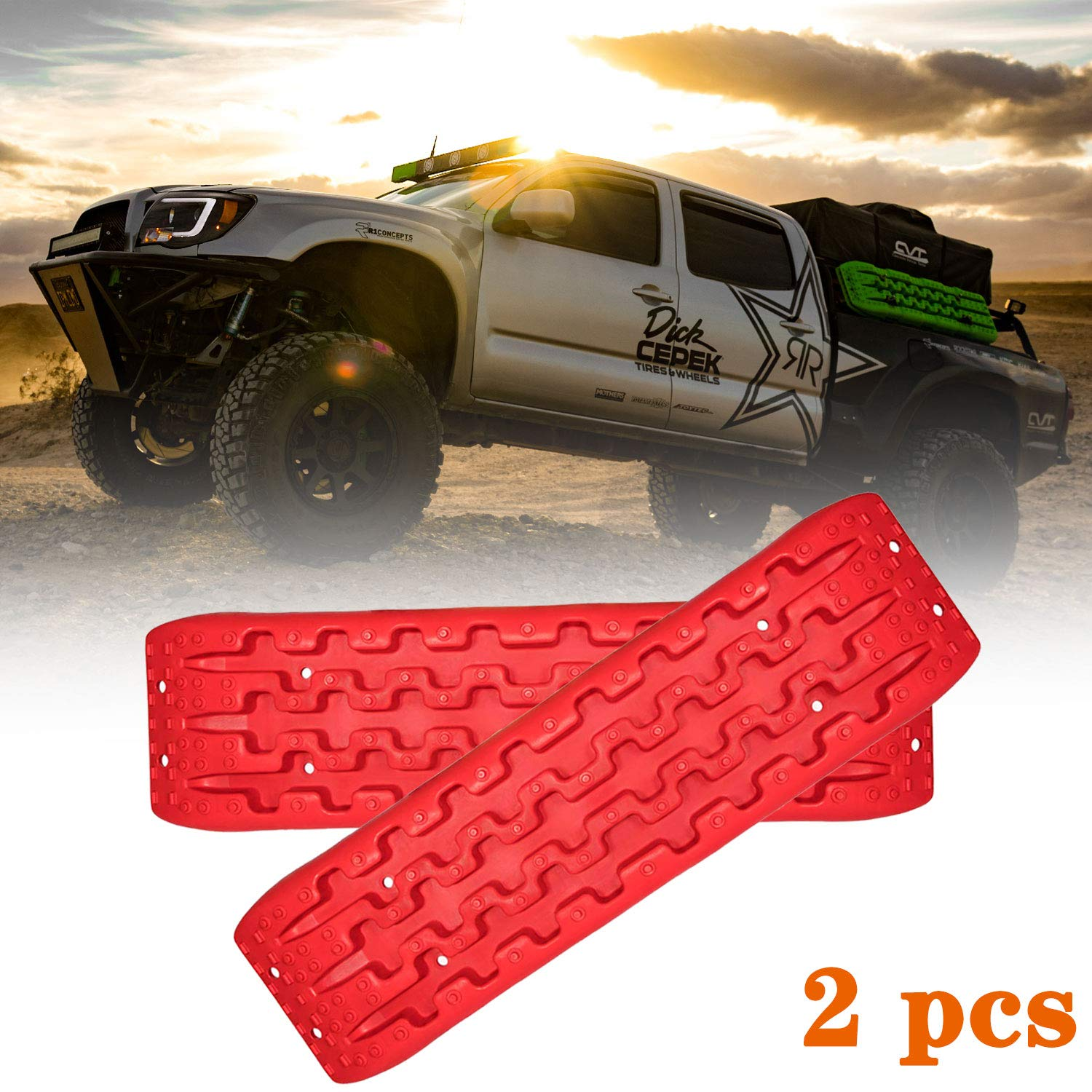 Red Recovery Traction Tracks Emergency Tool Big Size 2 Pcs Off-Road Mud Sand Snow Track Tire Ladder