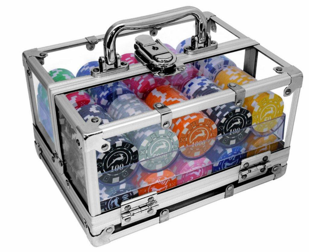 Modiano Box in alluminio trasparente - 400 chips da 14g 3076452