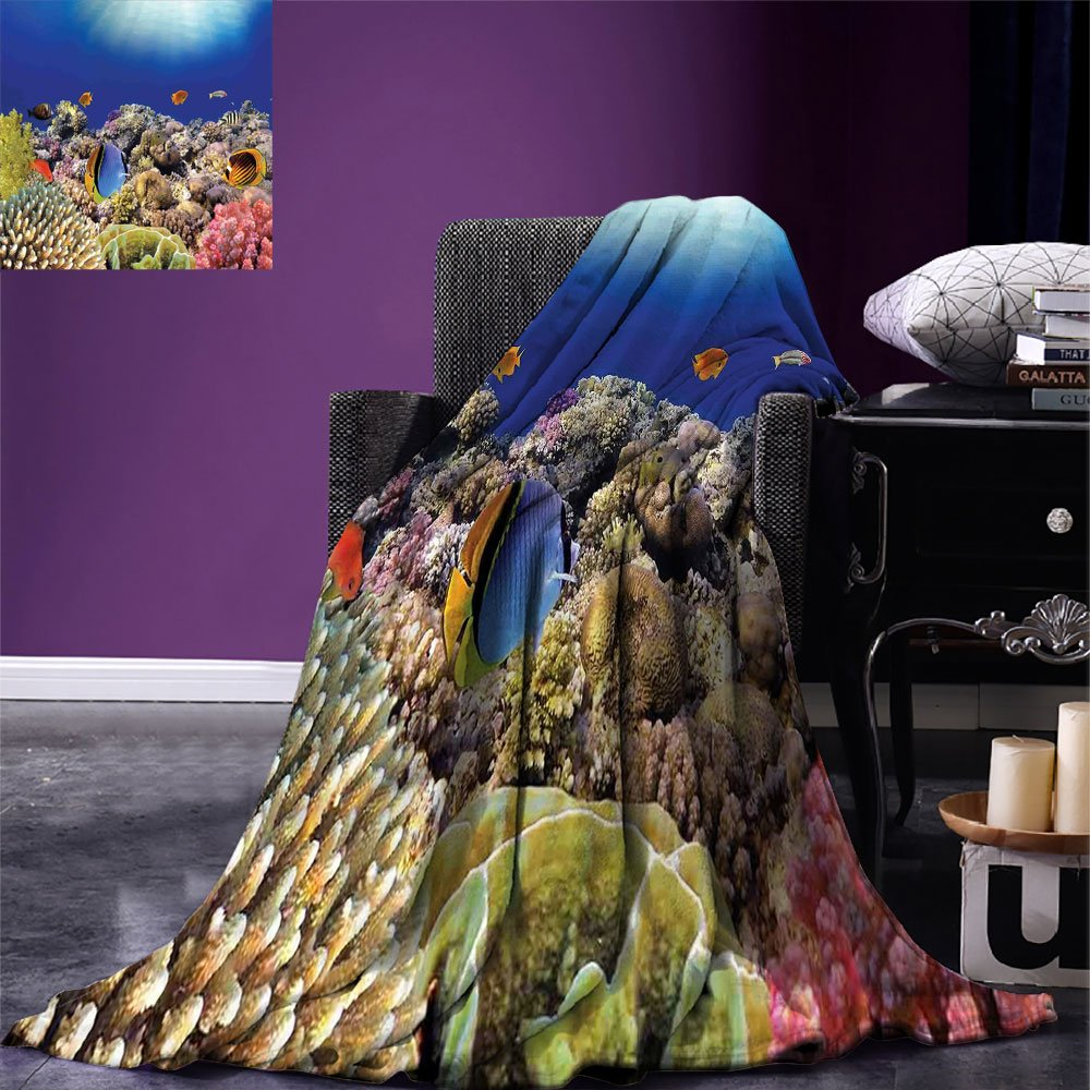smallbeefly Ocean Digital Printing Blanket Wild Sea Life Colorful Ancient Coral Reefs Exotic Fishes Bali Indonesia Summer Quilt Comforter Tan Blue and Orange by smallbeefly (Image #1)