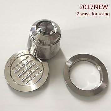 capsulone, rellenable, Cápsulas de Café de Acero Inoxidable 2 maneras de usar adhesivo tapas