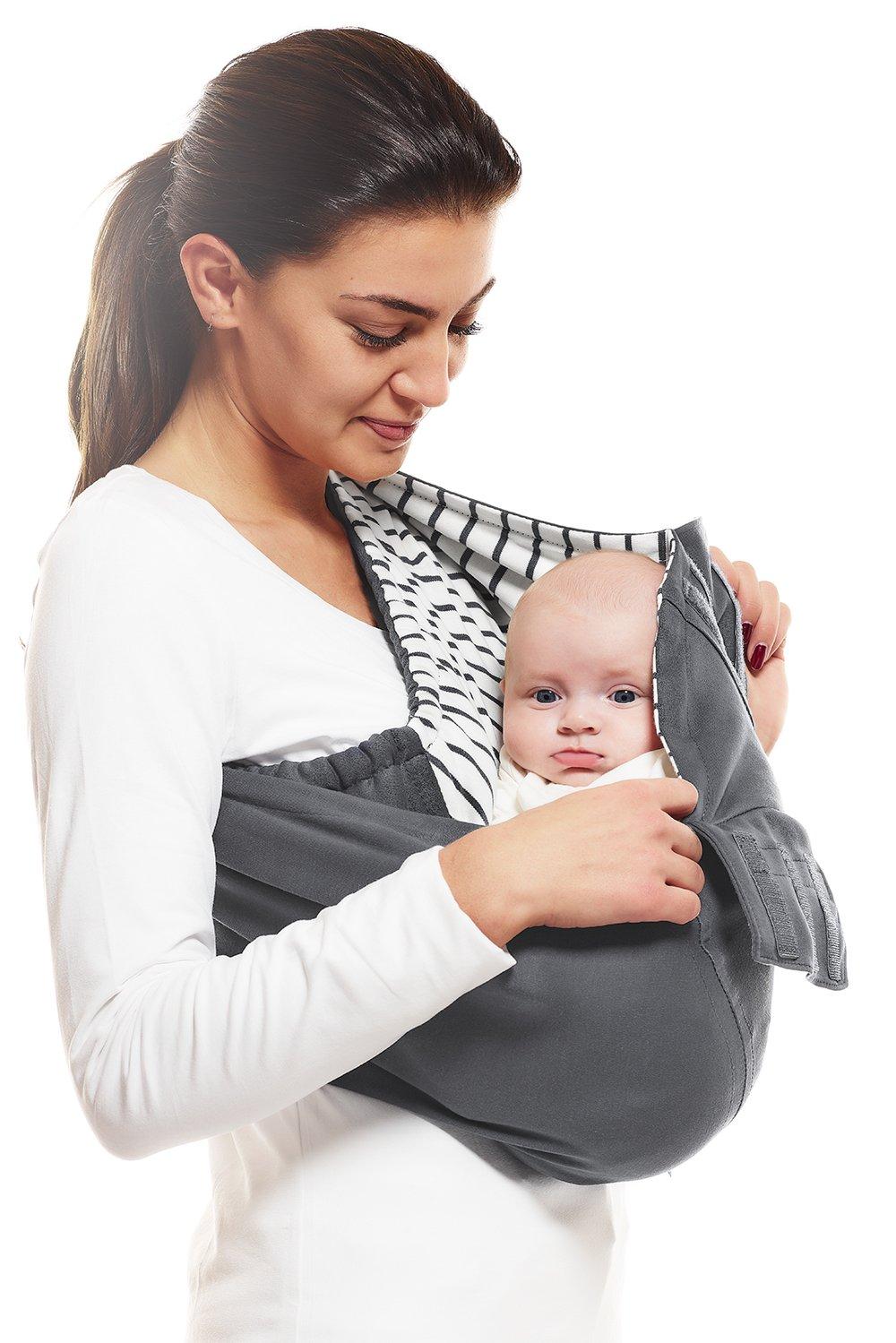 F/ür Neugeborene und Babys bis 15 kg Weich 100/% Baumwolle Farbe: Silber Ergonomische Babytragetuch Wallaboo Baby Tragetuch Connection Atmungsaktiv Passt sich der Form Ihres Baby genau an