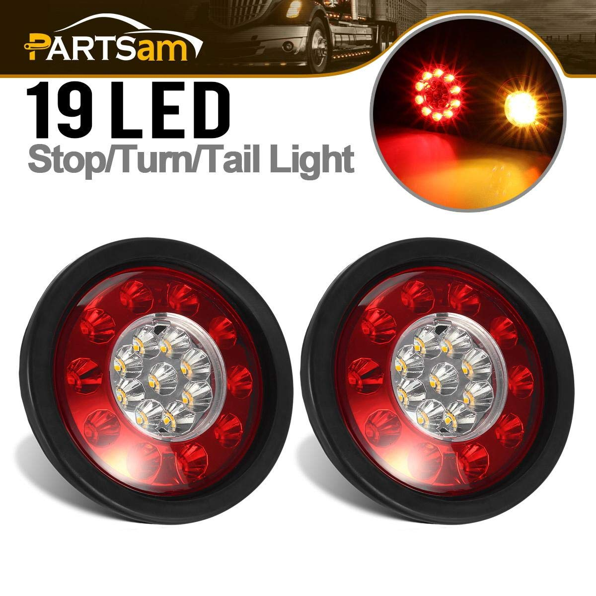 Led Truck Tail Lights >> Partsam 2 Pcs Red Amber Round Led Trailer Tail Lights 19 Led Multi Function Brake Stop Turn Tail Lights Grommet Mount 4 Inch Round Led Tail Lights 4