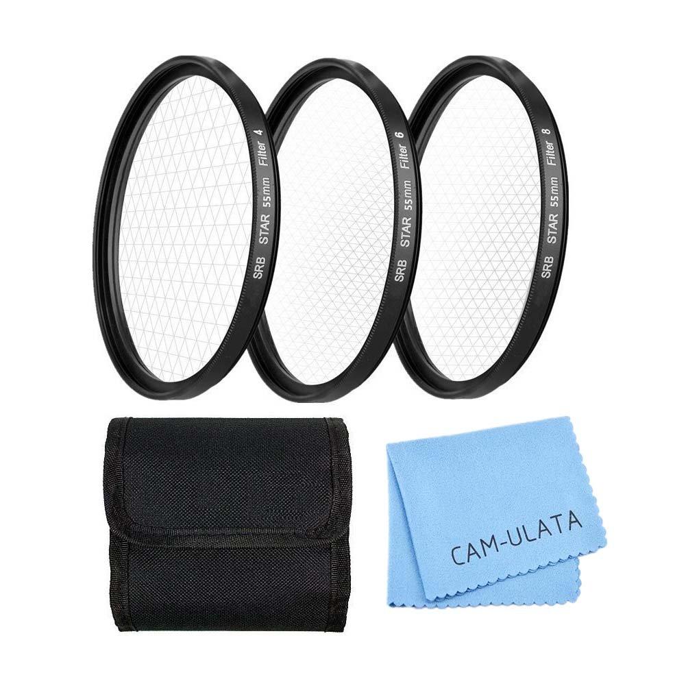 Stern Effektfilter, CAM-ULATA 55mm 4 Punkte 6 Punkte 8 Punkte Stern Filter für Canon Nikon Sony Olympus Pentax Digital SLR Kamera Camcorder DV Objektiv Effekt-Filterset + Nylon Filtertasche + Premium Microfaser Reinigungstuch