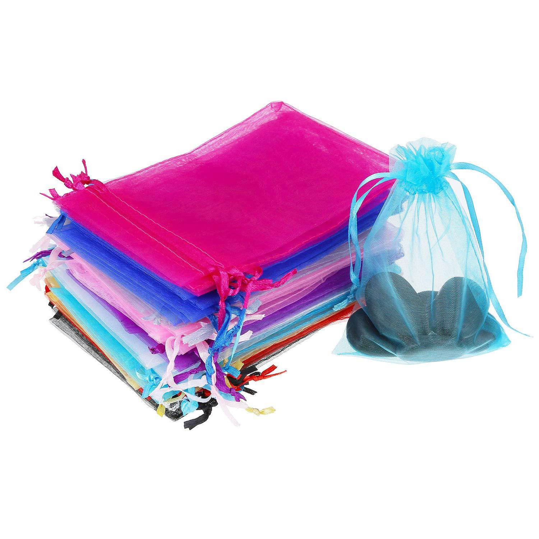 10 Mixte Couleurs pochettes organza avec Cordon pochon organza sac pochette pour bijoux//drag/ées de Mariage 10 x 12 cm XCOZU Lot de 50 Sachet Cadeau en Organza