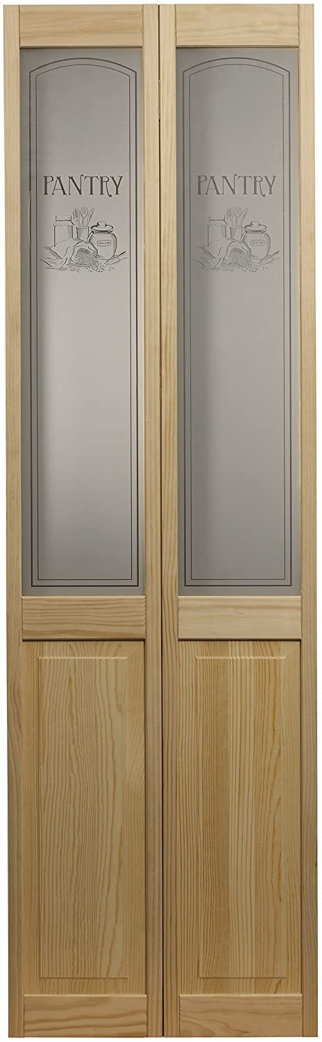 """LTL Home Products 864730 Pantry Half Glass Bifold Interior Wood Door, 36"""" x 80"""", 36 Inches x 80 Inches, Unfinished Pine"""