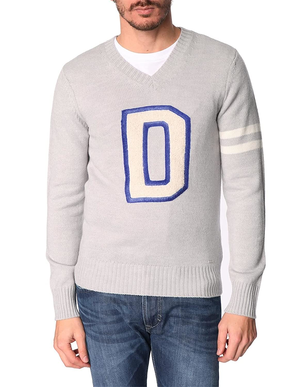 DIESEL - V-neck Sweaters - Men - D Finferlo Logo V-Neck Sweater for men