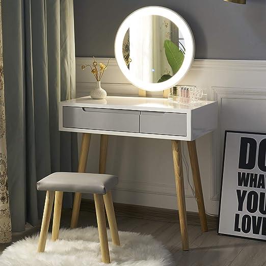 YOURLITE Tocador con Espejo de Luces LED Juego de Mesa de Maquillaje con Espejo de Brillo Ajustable, Taburete Acolchado y Organizador de Maquillaje: Amazon.es: Hogar