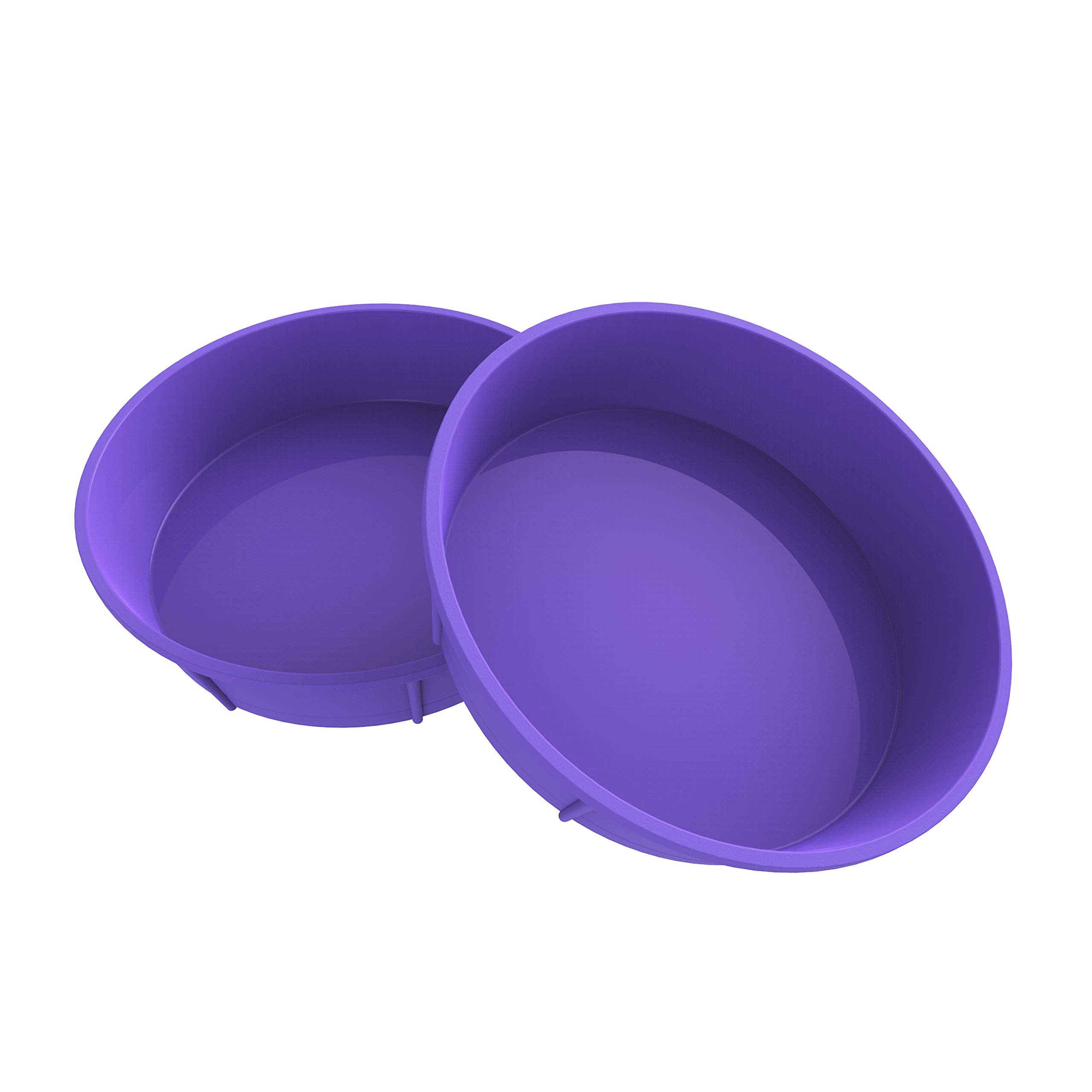 Bakerpan Premium Medium Silicone Round Cake Pan, Round Mold, 7.75 inches (Purple, 2)