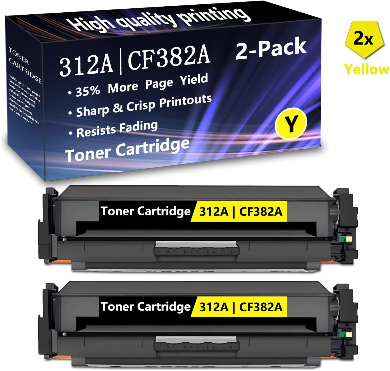 2 Pack 312A CF382A Remanufactured Toner Cartridge Replacement for HP Color Laserjet Pro MFP M476dw ,M476dn ,M476nw Toner Printers,Sold by AlToner 2 Yellow