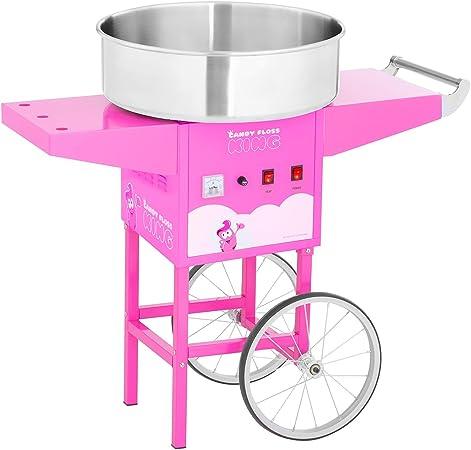 Royal Catering Máquina De Algodón De Azúcar con Carrito RCZC-1200-P (1200 W, Ø 52 cm, 1 porción /30-60 s, Control separado del termostato y la rotación, incl. dosificador) Rosa: Amazon.es: Hogar