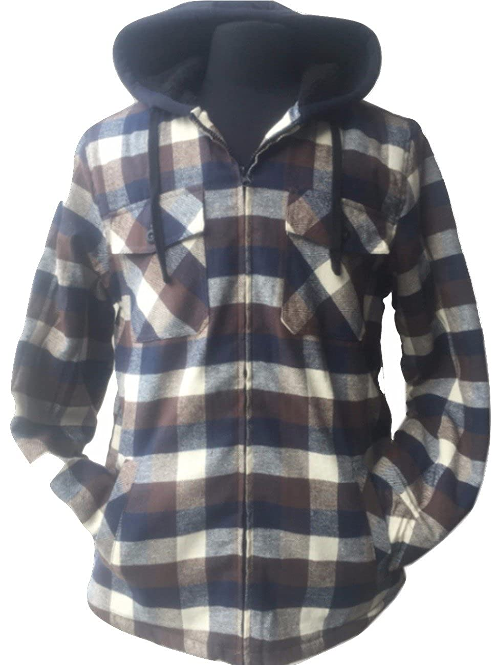 Golden Tree Big and Tall Men's Full Zip Hooded Flannel Sherpa Lined Long Sleeve Warm Jacket