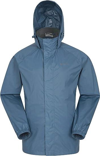 Mountain Warehouse Veste imperméable Pakka pour Homme Veste à Capuche Pliable, Manteau à Haute visibilité, Veste de Pluie légère pour Temps Humide
