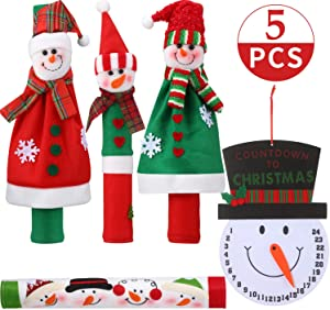Christmas Refrigerator Door Handle Cover with Snowman Advent Calendar, Set of 5 Practical Snowman Fridge Door Handle Covers for Double Door Fridge, Kitchen Microwave Dishwasher Handle Decorations