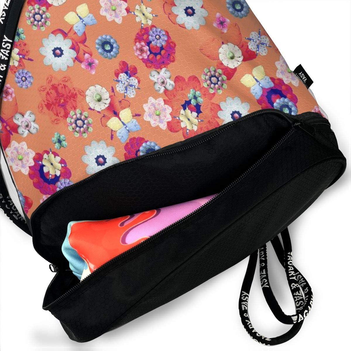 Meadow Bright Flowers Colorful Butterflies Drawstring Bag Multipurpose Bundle Dance Bag Sack Pack