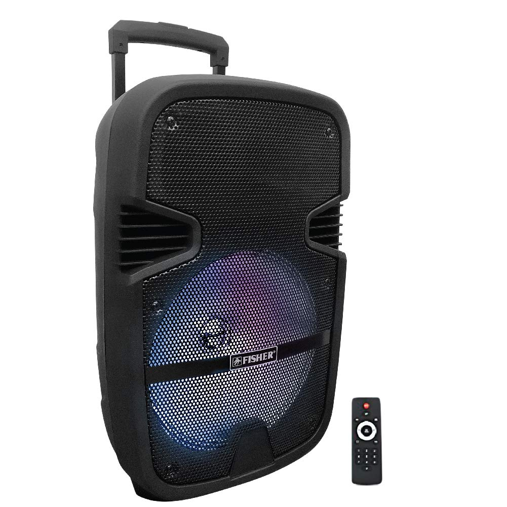 Fisher FBX1262 12-Inch Bluetooth Portable Wireless Speaker, Microphone Input, Karaoke Features, Colorful Light FX