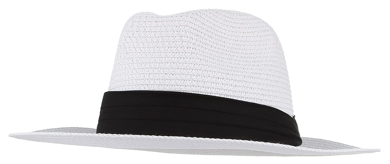 Gemvie Men's Paper Woven Straw Panama Trilby Fedora Beach Sun Hat Large/22.8