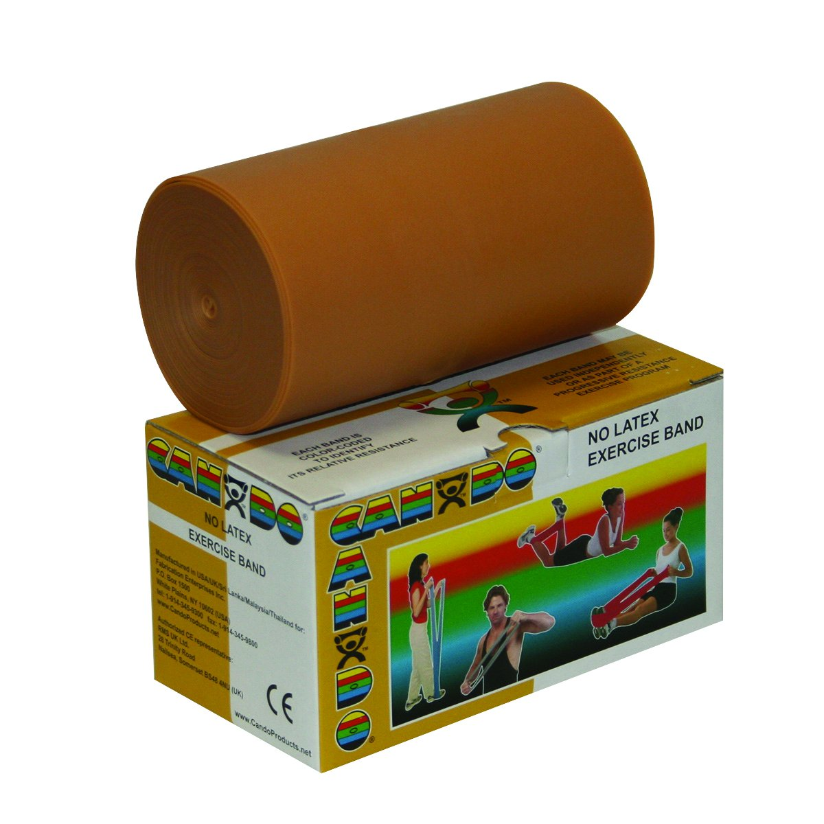 Cando 10-5617 Gold Latex-Free Exercise Band, XXX-Heavy Resistance, 6 yd Length
