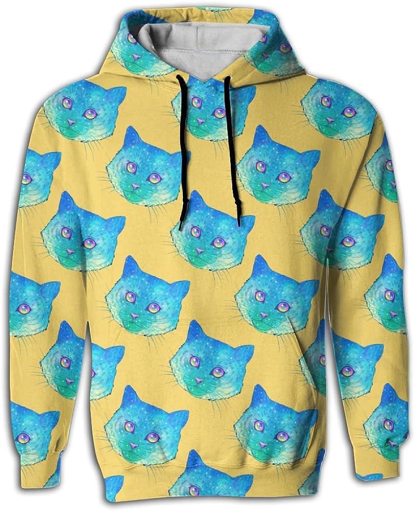 MCPWY Cool Blue Cat Face Mens Sleeve Hoodie Cute Mens Hoodies
