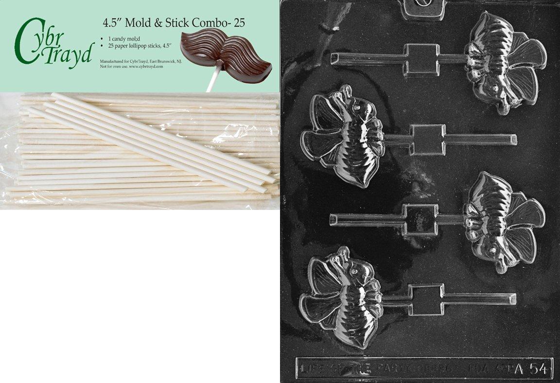 Cybrtrayd 45St25-A054 Bee Lolly Animal Chocolate Candy Mold with 25 4.5-Inch Lollipop Sticks by CybrTrayd