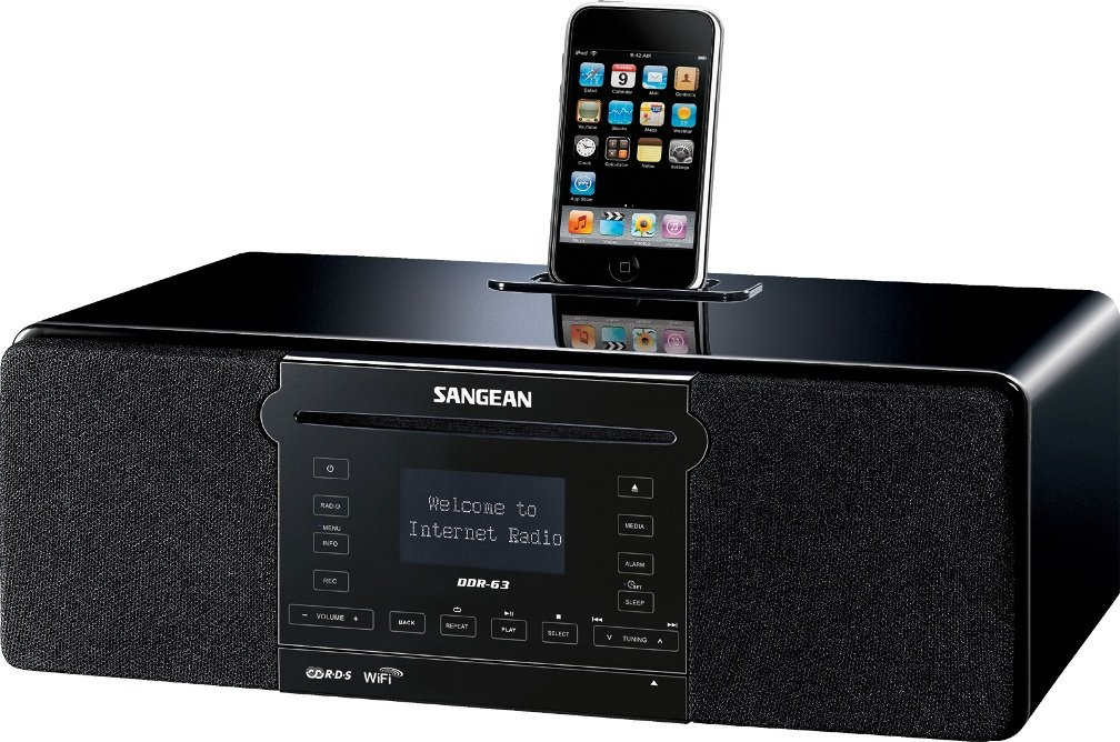 Sangean DDR-63 WiFi Internet Radio/FM-RBDS/Aux-in/CD/USB/SD All-in-One Tabletop Wooden Cabinet Musical System Compatible with iPod, Black, WiFi Internet Radio (over 15,000 Stations worldwide)/FM-RBDS Waveband