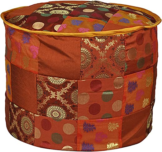 Lalhaveli Ethnic Elegant Designer Decorative Silk Ottoman Cover 17 X 17 X 13 Inches