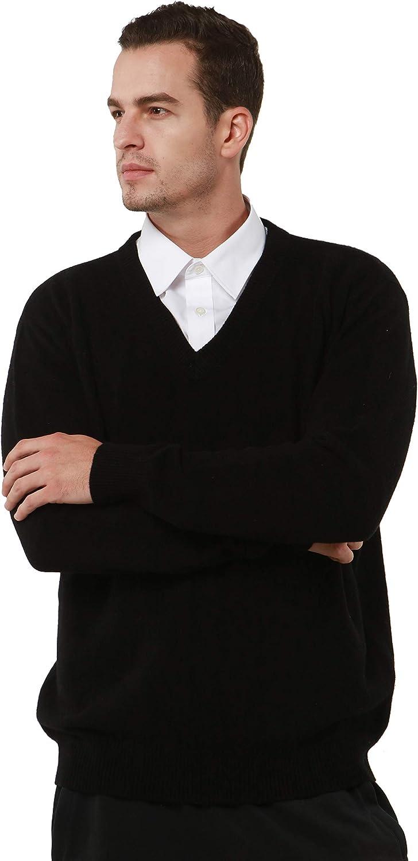 PHELEAD Maglione in 100% Merino da Uomo V-Collo Maglia Manica Lunga Maglione Casual Lana Invernale Nero