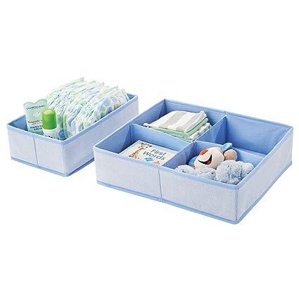 mDesign Juego de 2 cajas de almacenaje para habitación infantil o baño – Organizadores de armarios