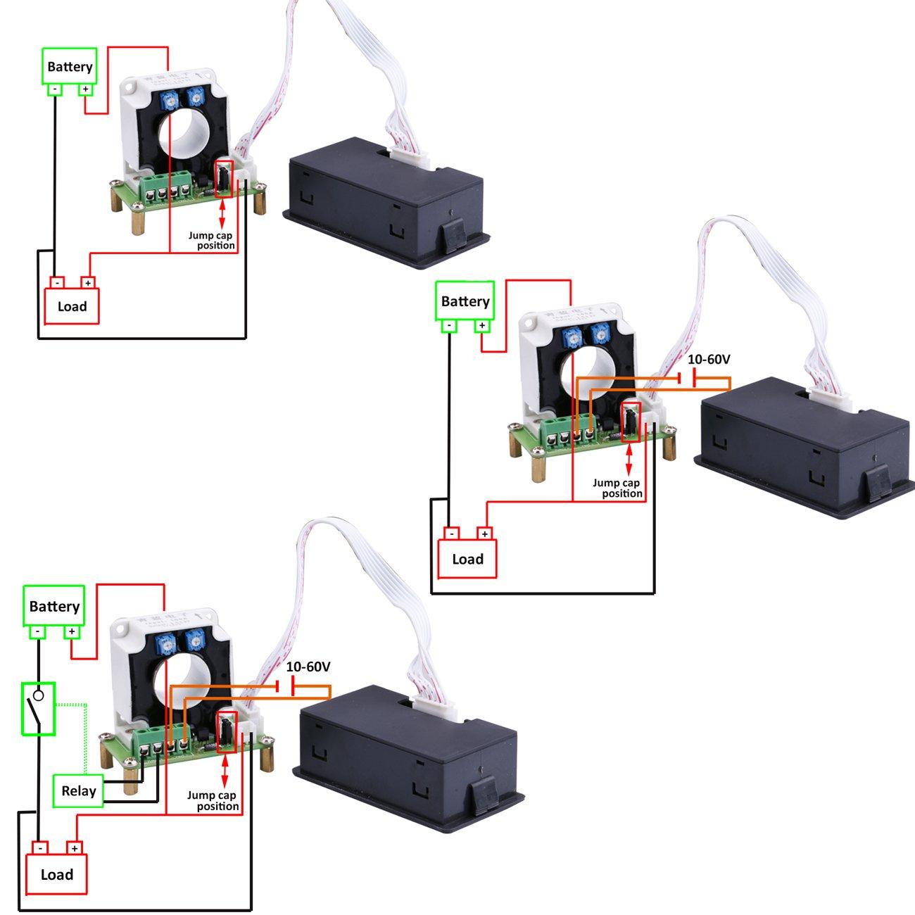 Yeeco Digital DC Voltmeter Amperemeter Multimeter, 10-90V 0-200A ...
