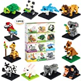 Animal Mini Building Blocks Zoo Set Fun Little Toys for Girl's or Boys Birthday Gift Intelligence Creativity, Includes 12 Styles