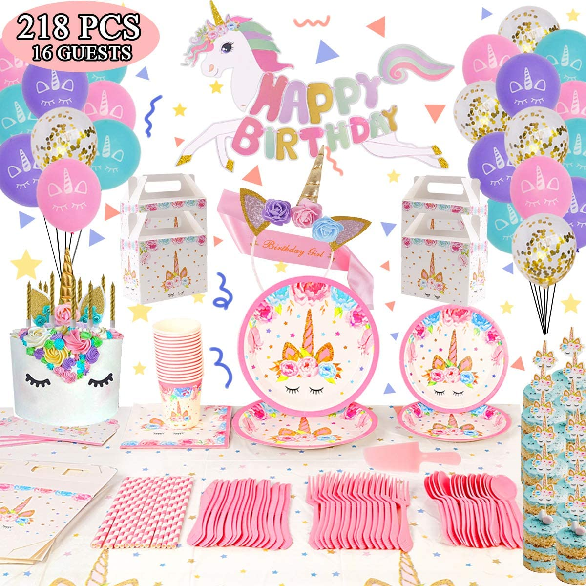 218 Pack Unicorn Party Supplies Set, Unicorn Birthday Packs Includs Flatware,Spoons,Plates,Tablecloth,Cups,Straws,Napkins,Invitation cards, Balloon,Box,Banner,Cake Topper