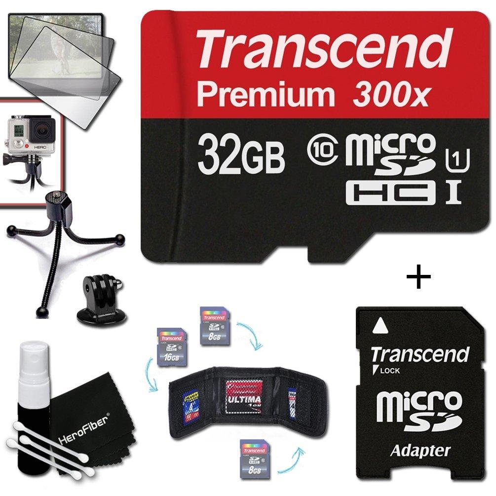 Transcend 32GB MicroSDHC Class10 300x High Speed Memory Card + Adapter KIT for GoPro Hero4 Session, HERO4 Hero 4, Hero3+ Hero 3+, HERO3 Hero 3, HERO2 Hero 2, Hero 3 Black / Silver Edition, Hero2 Outdoor Edition Hero 960, HD Motorsports HERO, Surf Hero, He