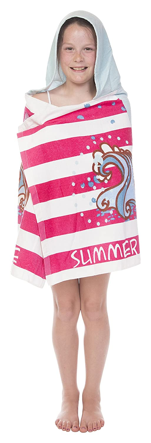Crest Mills Kids 100% Cotton Hooded Poncho Towel for Pool, Beach and Bath (Ice Cream You Scream!, 24