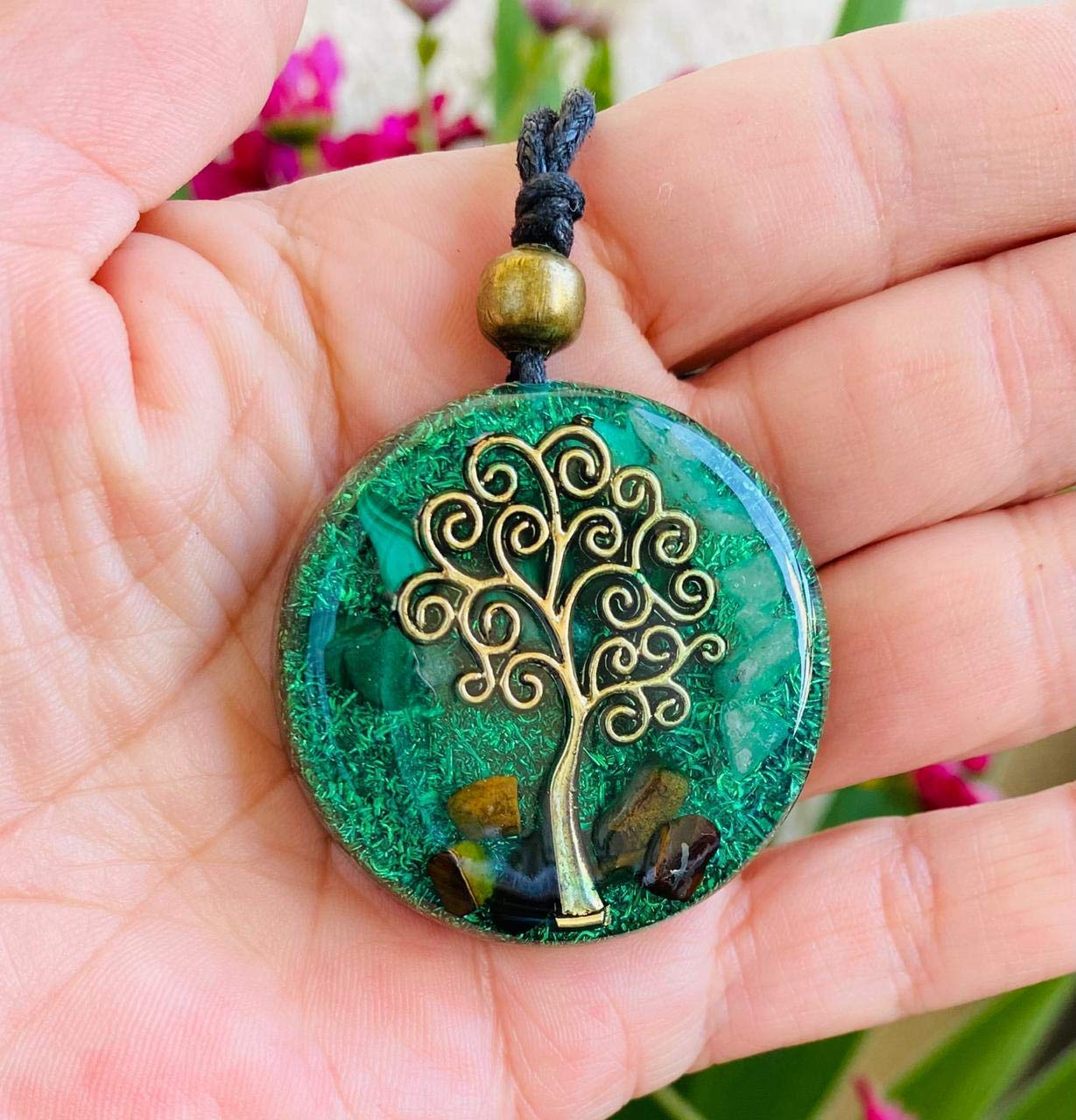Orgone energy Malachite Orgonite Necklace /& Earring Set for Heart Chakra Taurus Birthstone,EMF protection Healing and Well-being