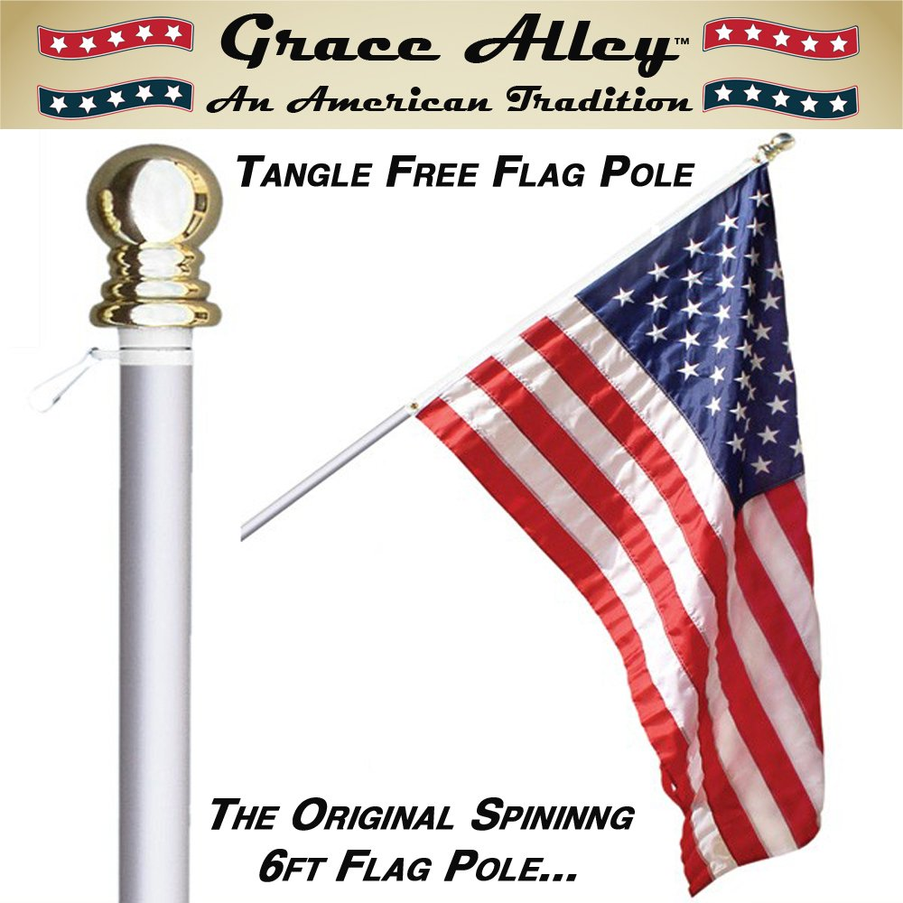 Flag Pole: Tangle Free Spinning Flagpole Residential or Commercial 6ft Flag Pole (Silver) by Grace Alley