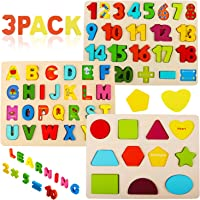 Wooden Puzzles for Toddlers, Voamuw Wooden Alphabet Number Puzzles and Shape Puzzle for Kids Ages 3 4 5 6, Toddler…
