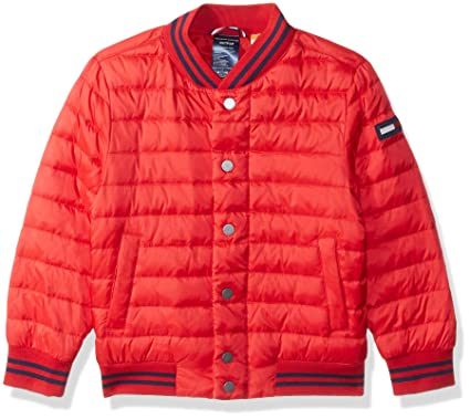 a915f611 Tommy Hilfiger Adaptive Boys Bomber Jacket with Magnetic Buttons and Down  Fill, Racing red X