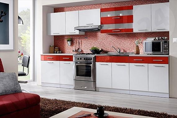 Küche martina 320 cm küchenzeile küchenblock 9 schrank module frei kombinierbar weiß weiß rot hochglanz amazon de küche haushalt