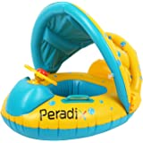 Peradix Baby Water Floats Toys with Inflatable Canopy Sunshade Swimming Pool Boat Upgraded Floating Ring