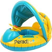 Peradix Bouée Siège Gonflable Piscine Gonflable Enfant avec Pare-Soleil Bébés 6 - 24 Mois Baignoire Piscine PVC Matériel Sécurité