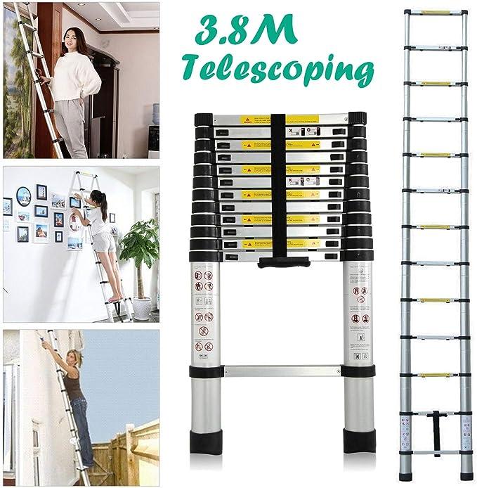 Escaleras de extensión telescópicas plegables multiusos de 3,8 m, 13 escalones, fácil de transportar, carga máxima de 330 libras: Amazon.es: Bricolaje y herramientas