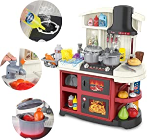 Toy Kitchen Playset - Kids Play Kitchen with Light & Sounds | Simulation Spray Cooking Stove Sink with Running Water Cookware Oven & Kitchen Food Accessories - Pretend Play Kitchen Toys for Girls Boys