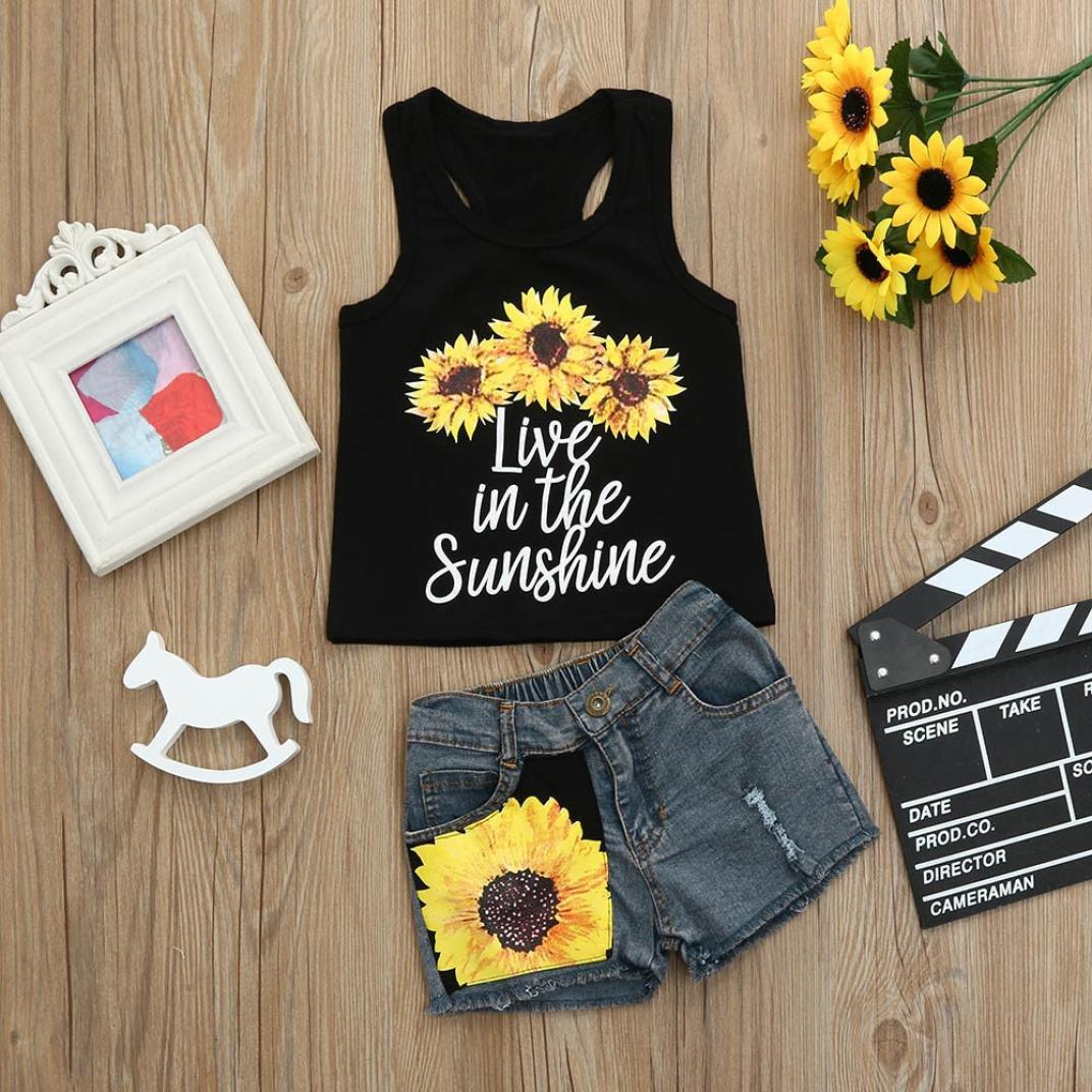 Outsta Toddler Baby Girls Letter Print Vest Tops T-Shirt Floral Denim Shorts Outfit Set