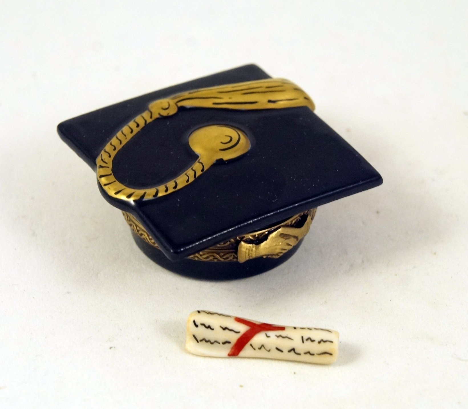 Authentic French Porcelain Hand Painted Limoges Box Graduation Cap with Porcelain Removable Diploma by Authentic Limoges Boxes (Image #1)