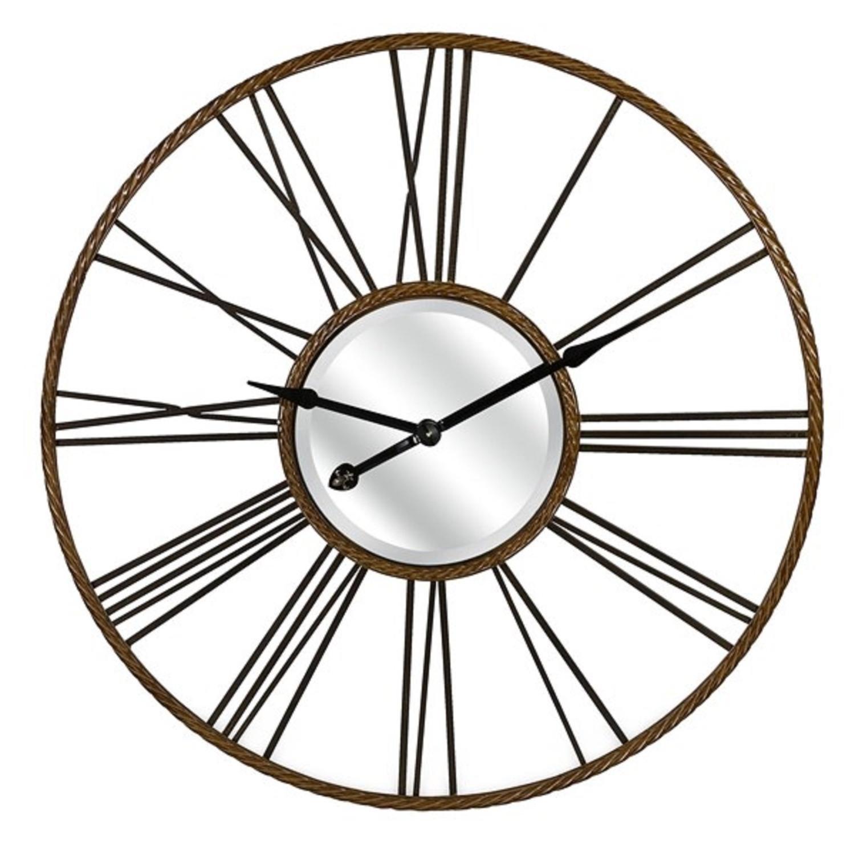 "CC Home Furnishings 42"" Metallic Copper and Black Antiqued Iron Decorative Wall Clock"